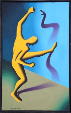 The Enemy Within - Original Oil on Canvas by M. Kostabi - 1994