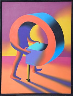 Winning Streak - Original Oil on Canvas by M. Kostabi - 1995