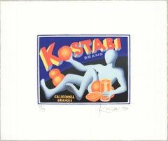 1990 Mark Kostabi 'The New Sensation' Pop Art Orange,Blue USA Etching