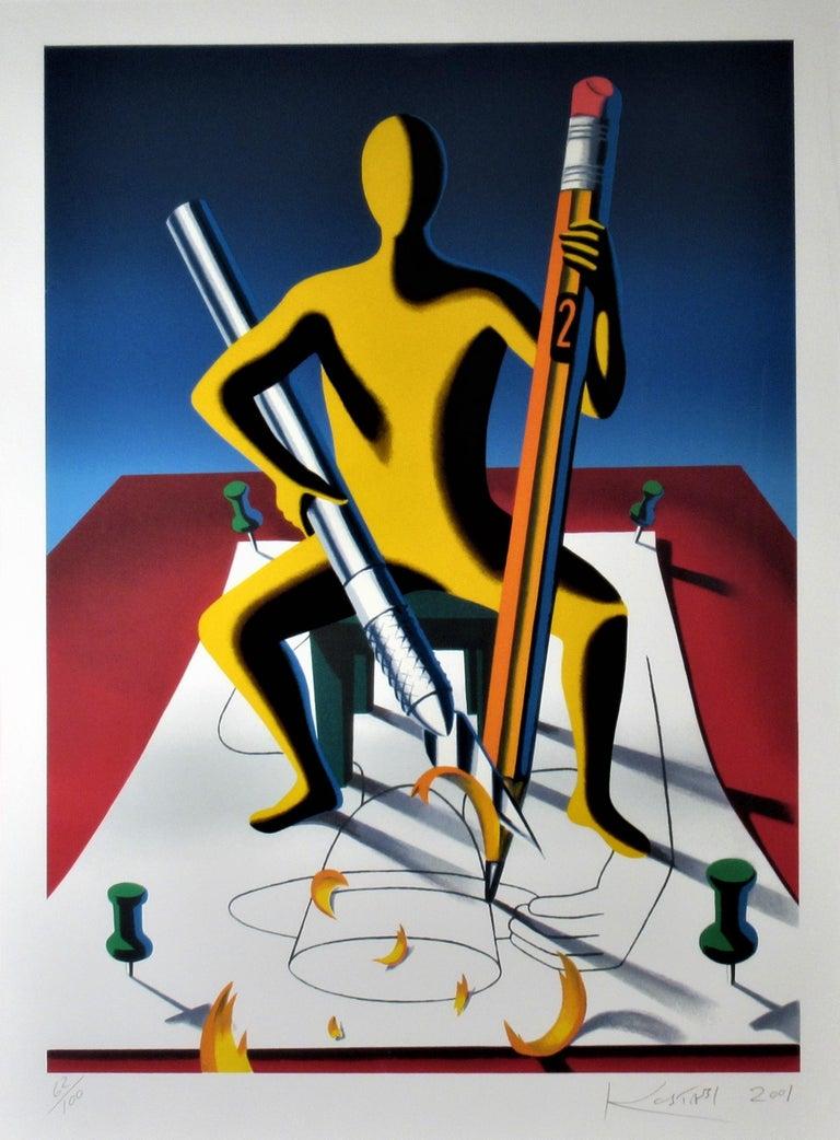 Careful Whit That Ax, Eugene - Print by Mark Kostabi