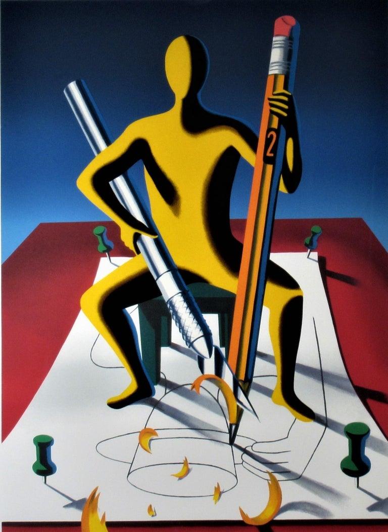 Careful Whit That Ax, Eugene - Surrealist Print by Mark Kostabi