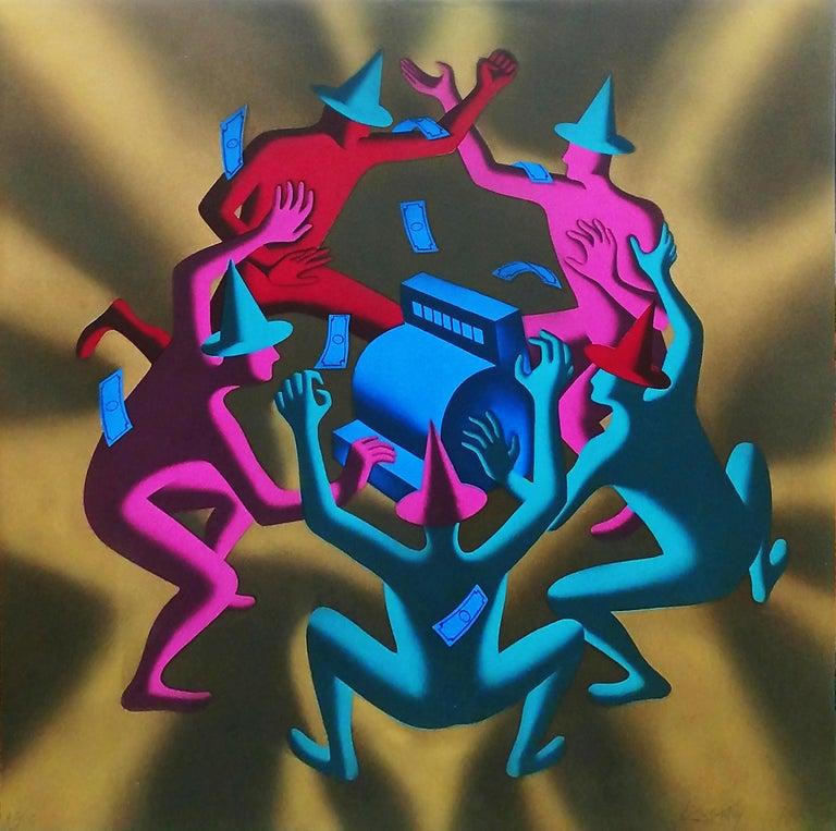 Mark Kostabi Portrait Print - CASH DANCE (GOLD)