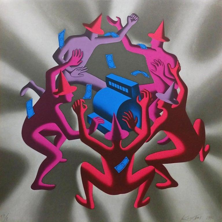 Mark Kostabi Portrait Print - CASH DANCE (GREY)