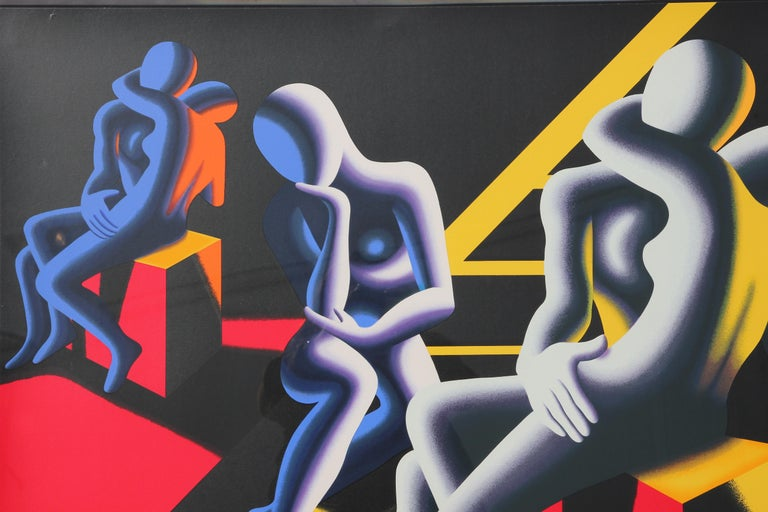 Pop art style figurative screenprint with two sets of figures in an embrace on cube shapes. In the middle is a lone figure with their head resting on their hand. The screenprint is accented with orange, yellow, and blue colors. It is signed, titled,