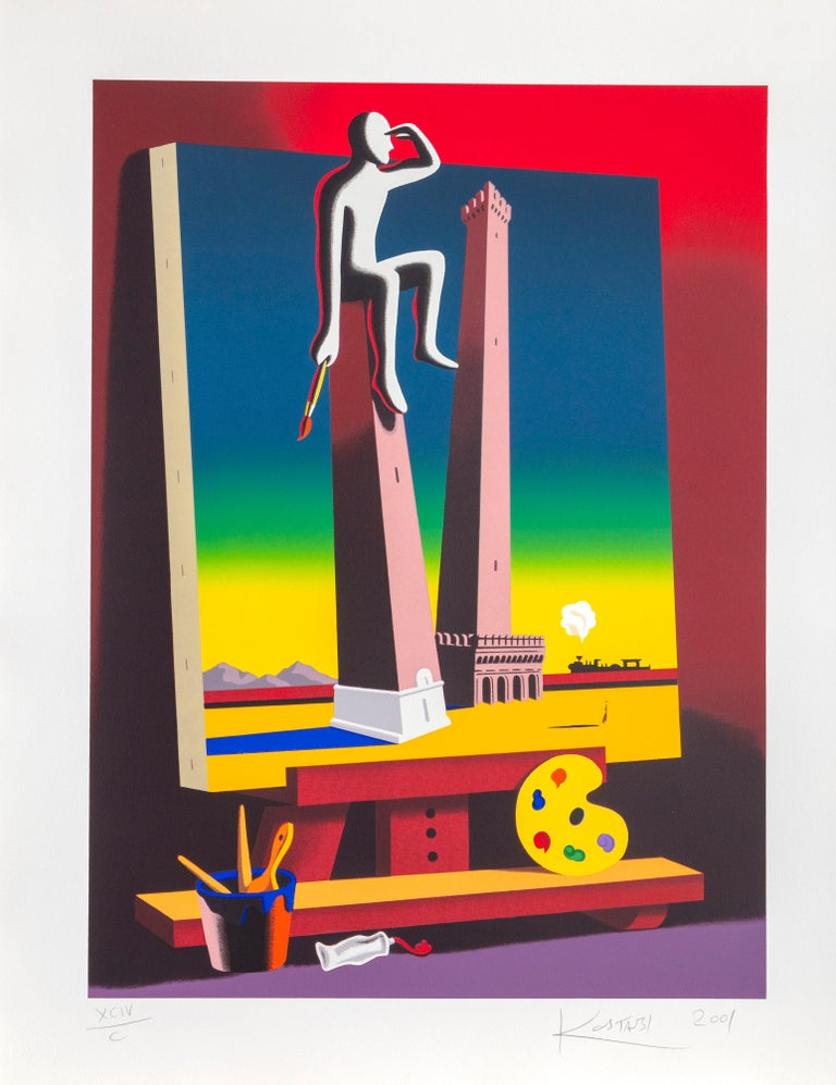 Mark Kostabi Portrait Print - Loophole with a View