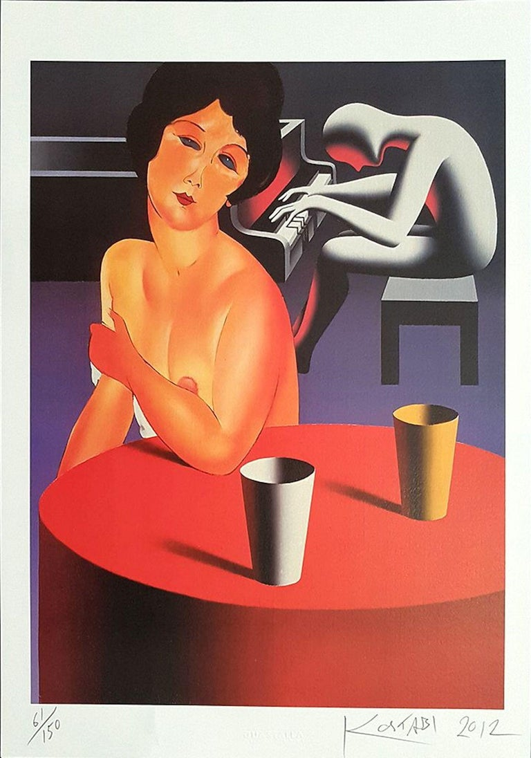"""Lush Life"" is an original print realized by Mark Kostabi in 2012. The artwork is hand signed, numbered and dated. This is an edition of 150 prints.  Mark Kostabi (b. 1960) is an American artist. He studied drawing and painting at the California"
