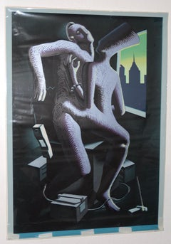 "Mark Kostabi ""Close Call"" Original Serigraph c.1986"