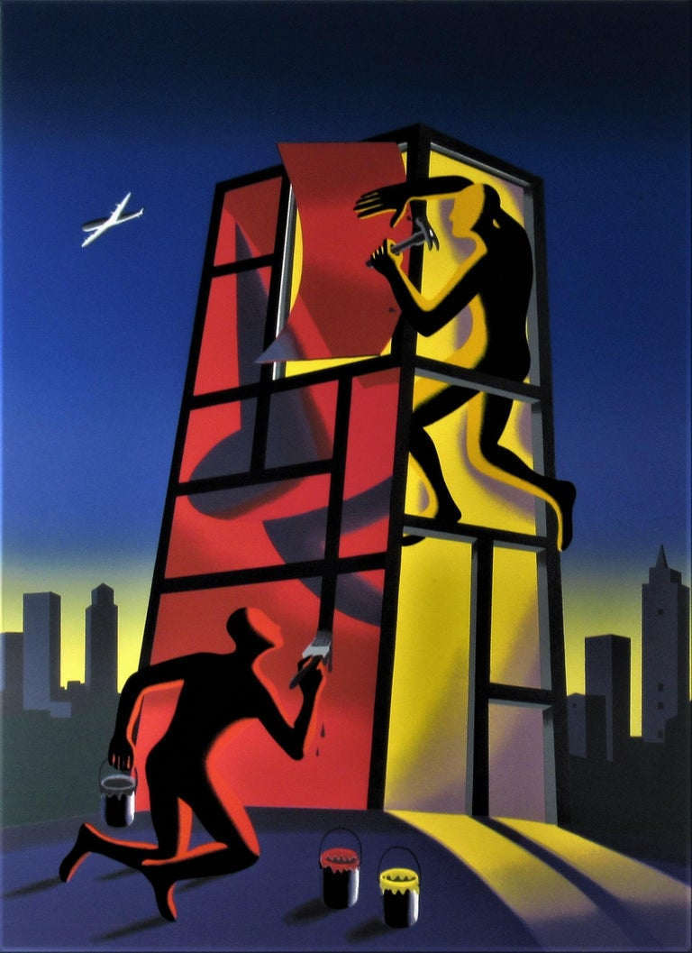 Panic in the Minefield - Surrealist Print by Mark Kostabi