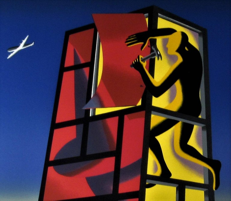 Panic in the Minefield - Black Print by Mark Kostabi