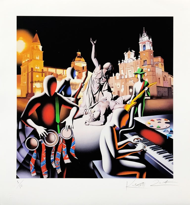 THE FIRST SET WAS IN STONE - Print by Mark Kostabi