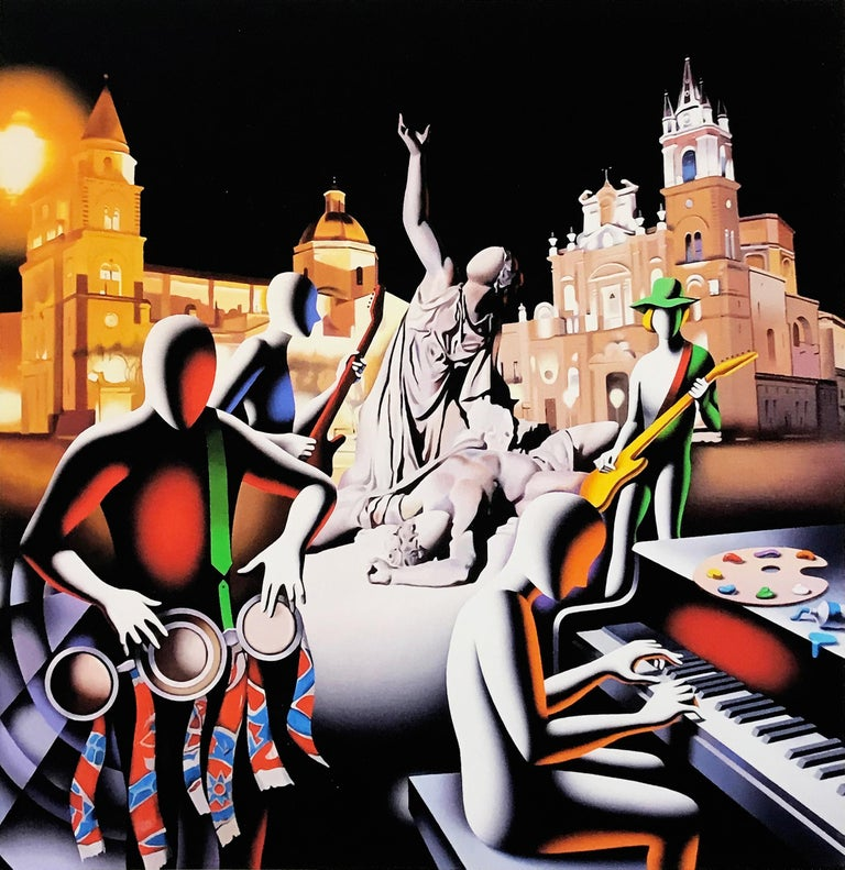Mark Kostabi Figurative Print - THE FIRST SET WAS IN STONE