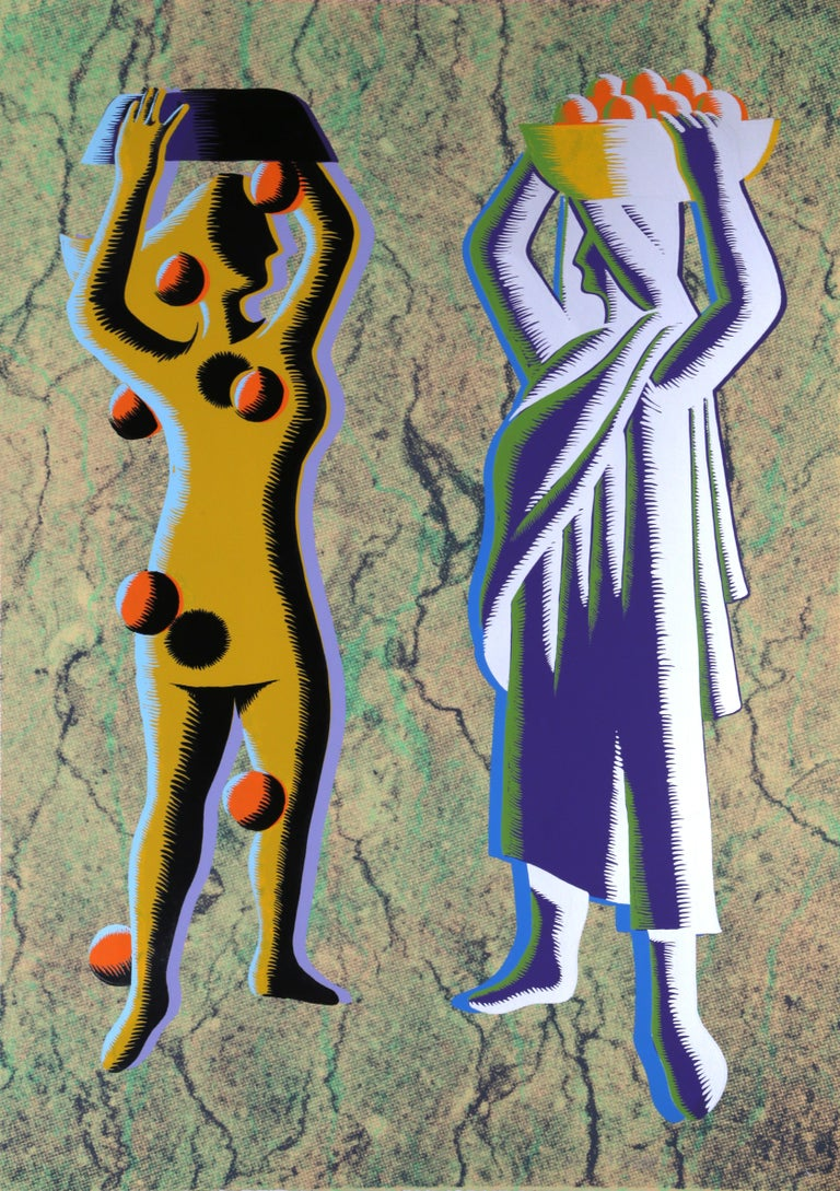 Artist: Mark Kostabi, American (1960 - ) Title: Two Cultures - Green Year: circa 1985 Medium: Silkscreen, signed and numbered in pencil Edition: AP 3/5 Size: 42 x 30.5 in. (106.68 x 77.47 cm)