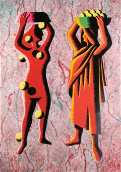 Two Cultures, Red, by Mark Kostabi