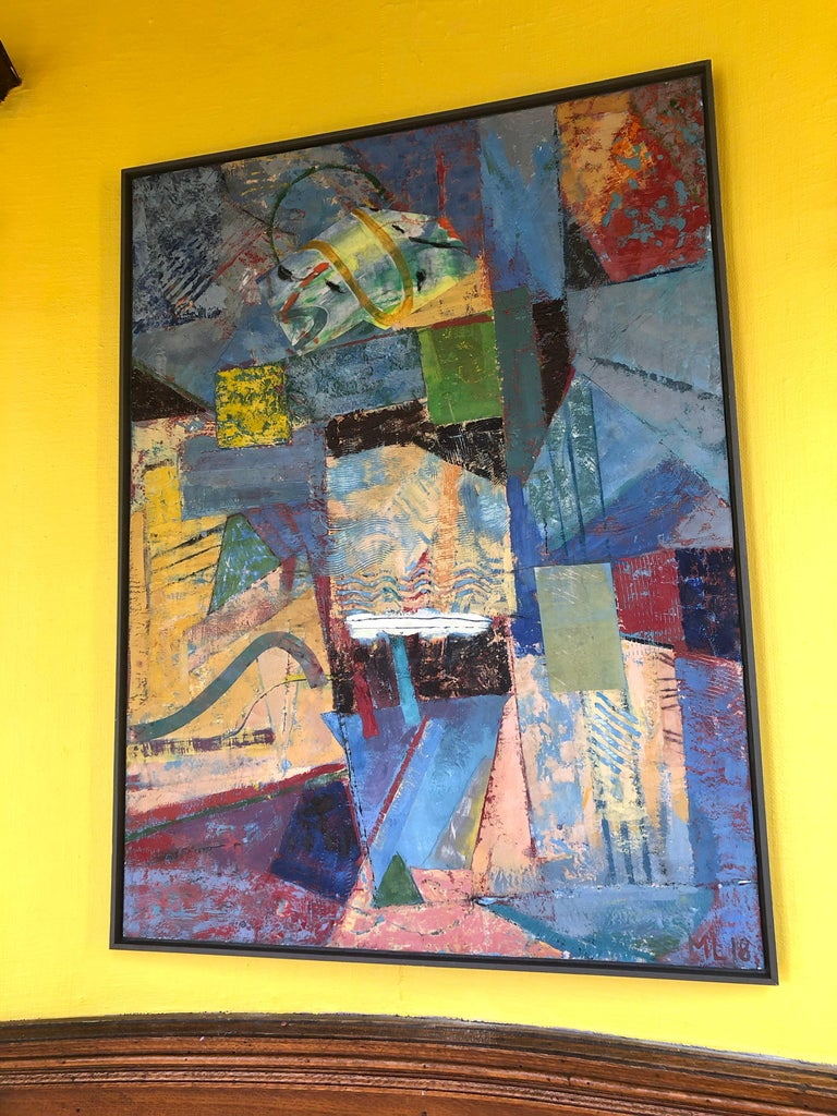 Contemporary Abstract Bright Colors Encaustic Painting Blue Red Yellow Framed  For Sale 1