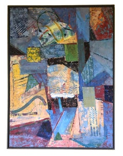 Contemporary Abstract Bright Colors Encaustic Painting Blue Red Yellow Framed