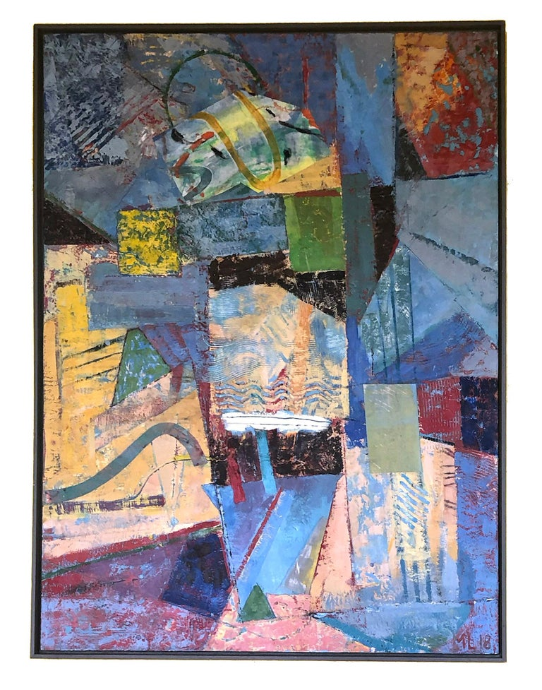 Mark Lavatelli Abstract Painting - Contemporary Abstract Bright Colors Encaustic Painting Blue Red Yellow Framed