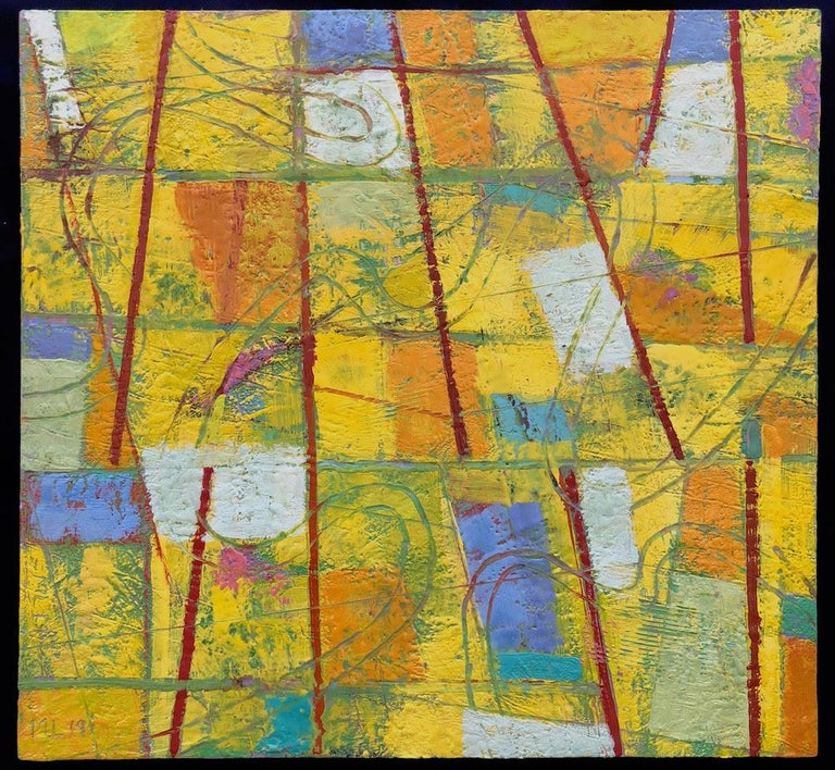 Mark Lavatelli Abstract Painting - Contemporary Abstract Bright Colors Encaustic Painting Blue Red Yellow Painting