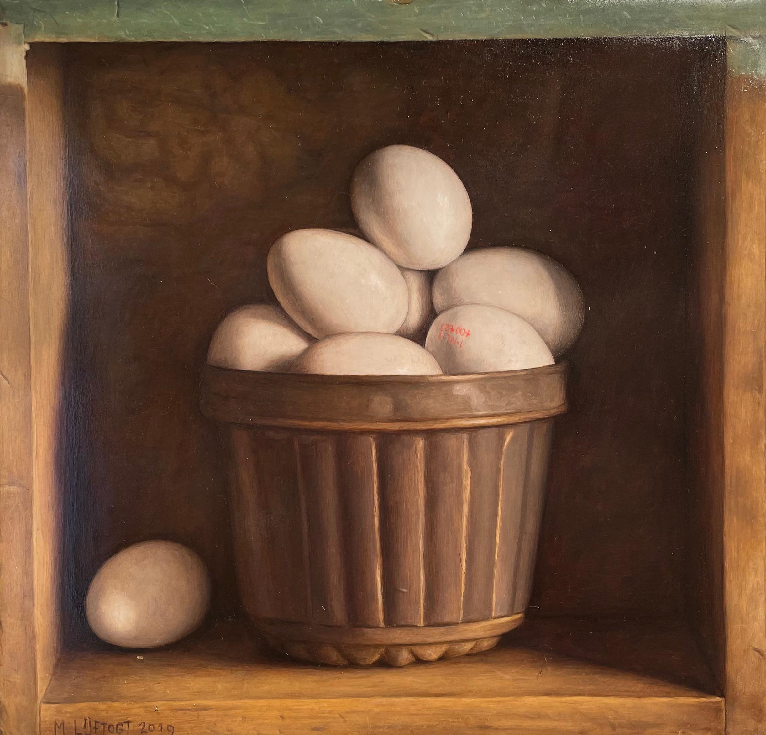 'Cake Mould with Eggs' Still Life realist painting in a wooden cabinet, white