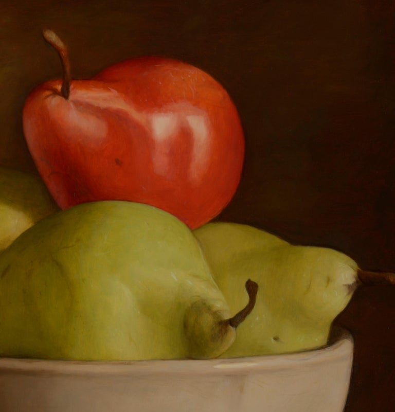 Colourful Still Life Realist painting of a 'Red & Green Pear' in a bowl  - Brown Still-Life Painting by Mark Lijftogt