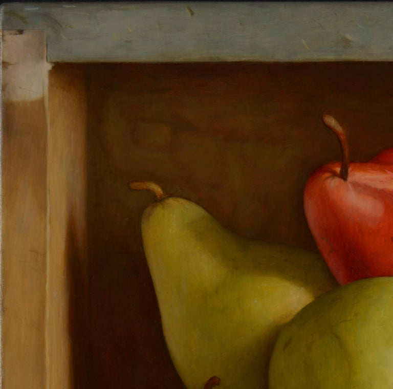 Colourful Still Life Realist painting of a 'Red & Green Pear' in a bowl  For Sale 1