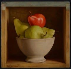 Colourful Still Life Realist painting of a 'Red & Green Pear' in a bowl