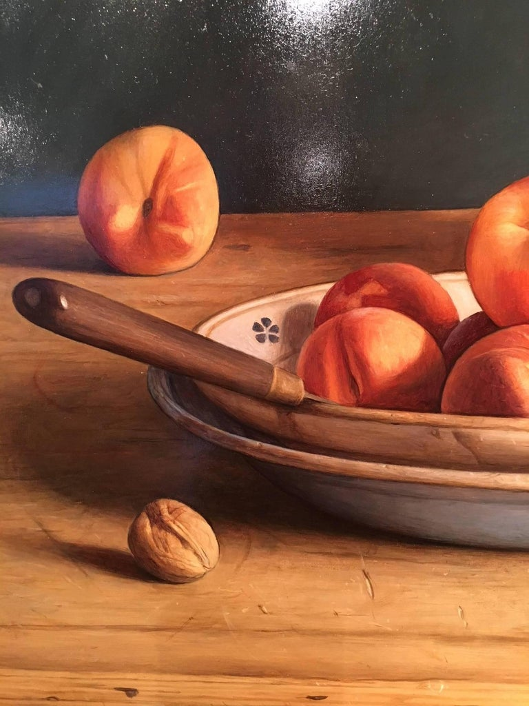 Contemporary Still-Life Painting by Mark Lijftogt 'A Bowl of Peaches'   For Sale 1