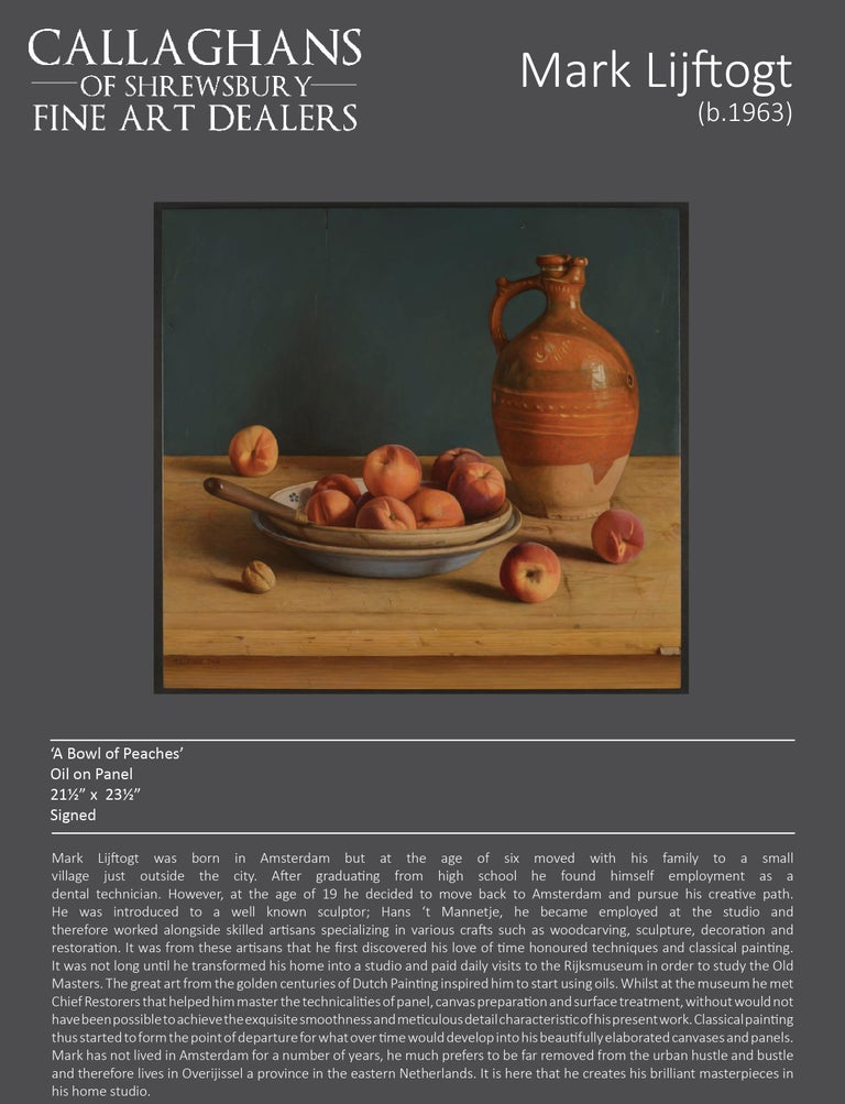 Contemporary Still-Life Painting by Mark Lijftogt 'A Bowl of Peaches'   For Sale 3