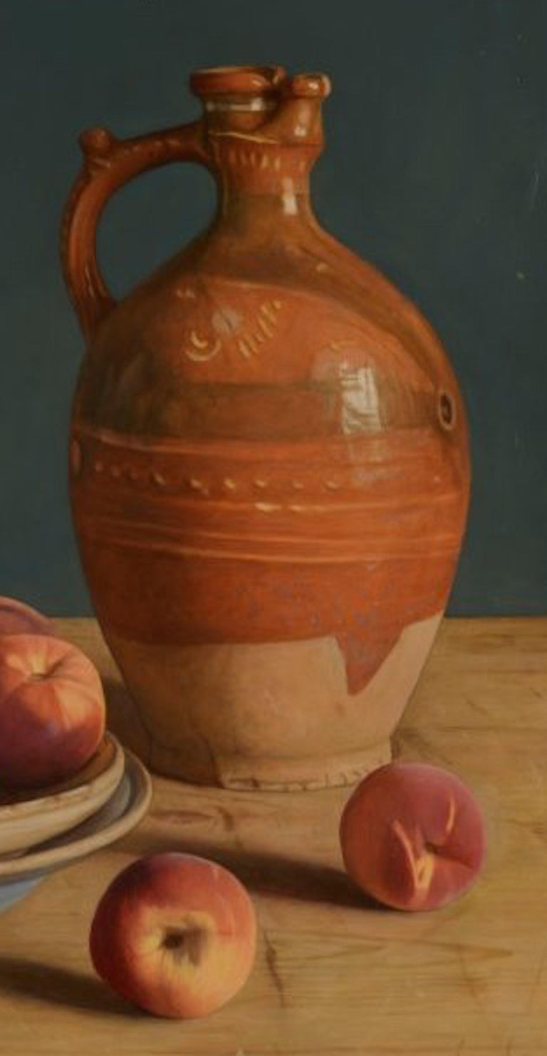 Contemporary Still-Life Painting by Mark Lijftogt 'A Bowl of Peaches'   For Sale 4