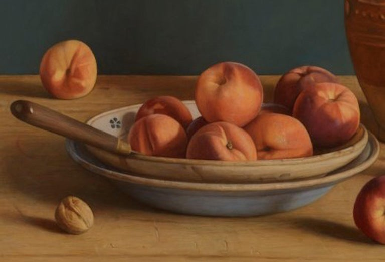 Contemporary Still-Life Painting by Mark Lijftogt 'A Bowl of Peaches'   For Sale 5
