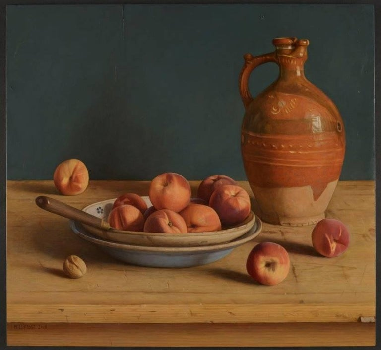 'A Bowl of Peaches' is a subtle and incredibly skilful still-life painting. The colour palette is perfectly judged, making the painting feel organic and lifelike.   Mark Lijftogt was born in Amsterdam but at the age of six moved with his family to a