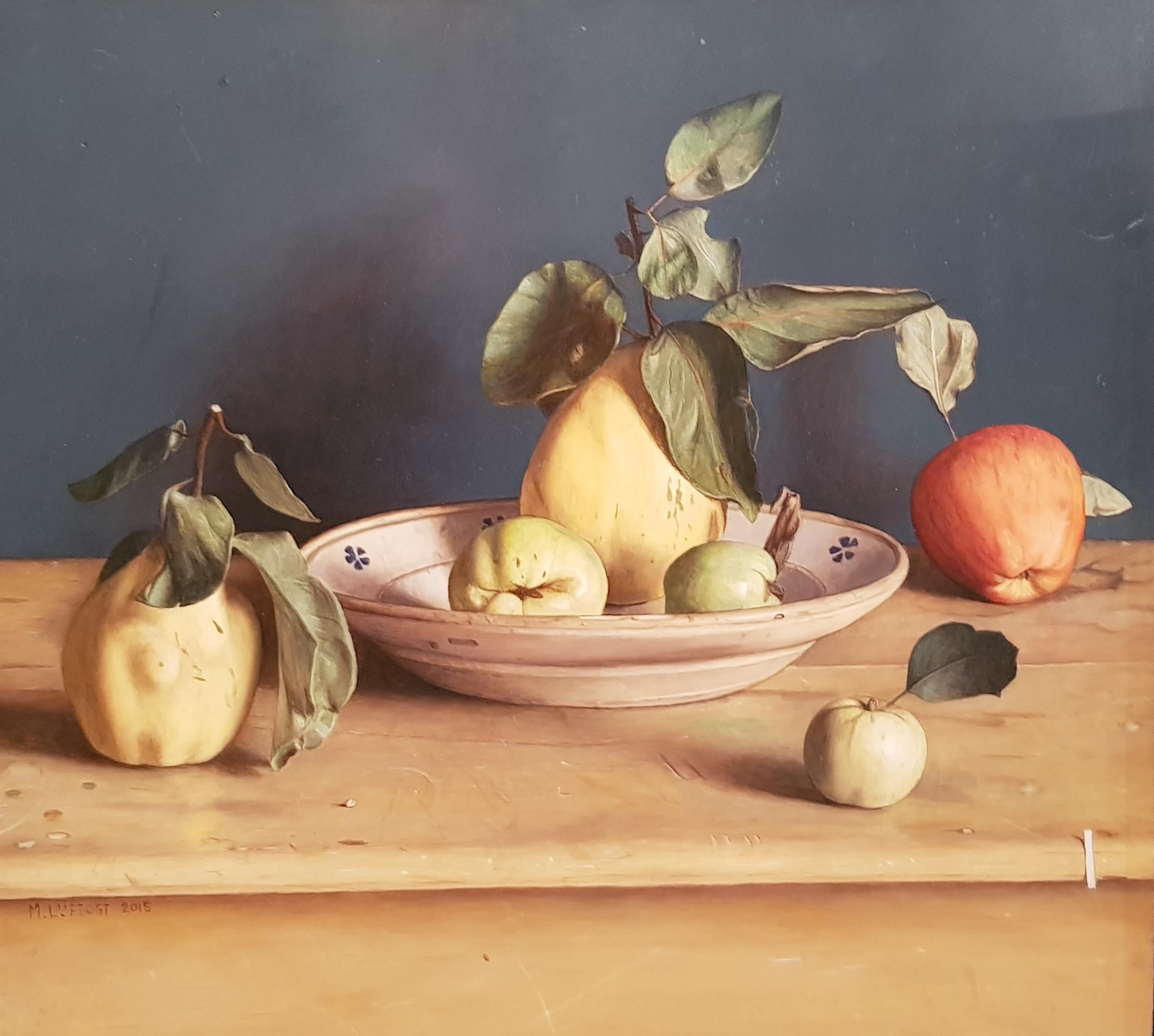 'Quinces & Apples' Still life panting of fruit in a bowl by Mark Lijftogt