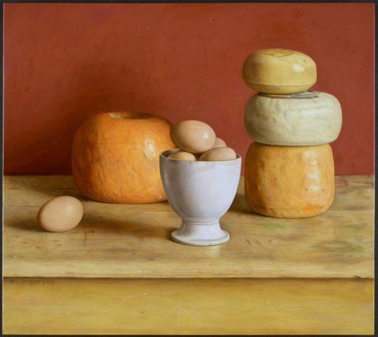 Realist Contemporary Still Life painting by Lijftogt 'Eggs and Cheese'  For Sale 2