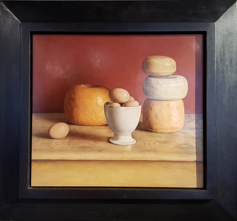 Mark Lijftogt Still-Life Painting - Realist Contemporary Still Life painting by Lijftogt 'Eggs and Cheese'