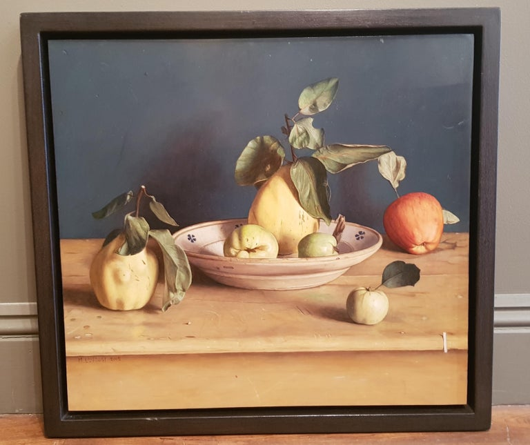 'Quinces with Apples' is a subtle, meditative  and delicate painting by the hugely talented Contemporary painter Mark Lijftogt.   Lijftogt was born in Amsterdam and at the age of 19 decided to pursue his creative path. He would spend every day for