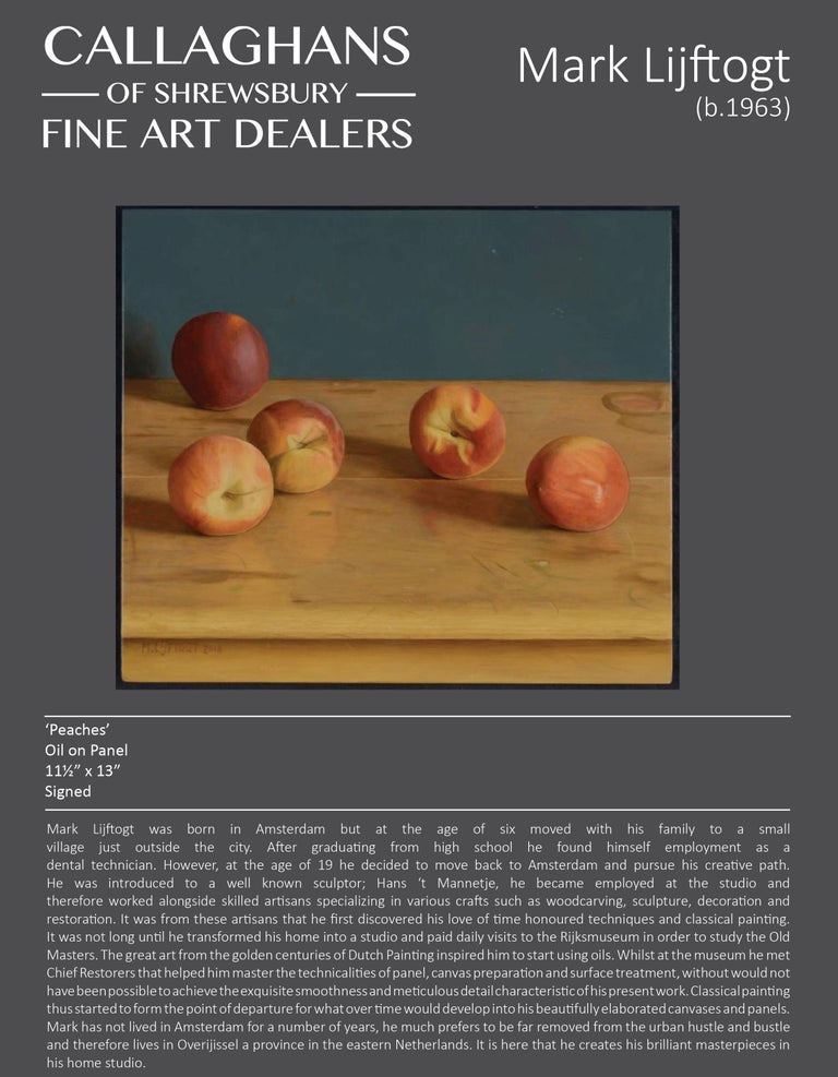 Realist Contemporary Still-Life painting 'Peaches' by Mark Lijftogt  For Sale 5