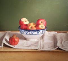 Realist Contemporary Still-Life painting 'Pomegranate and Apples' Mark Lijftogt