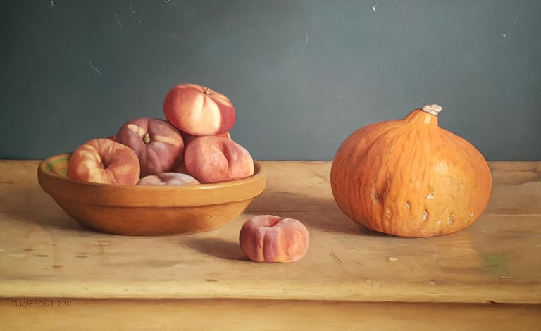 Mark Lijftgot is a fantastic contemporary Dutch realist painter. 'Wild Peaches' is an incredibly accomplished painting, full of realism and subtlety - a brilliant addition to any collection.  Lijftogt was born in Amsterdam and at the age of 19