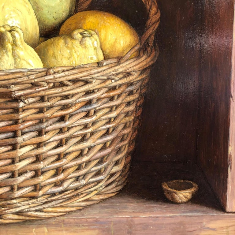 'Basket of Lemons and pears' is a subtle, meditative  and delicate painting by the hugely talented Contemporary painter Mark Lijftogt.   Lijftogt was born in Amsterdam and at the age of 19 decided to pursue his creative path. He would spend every