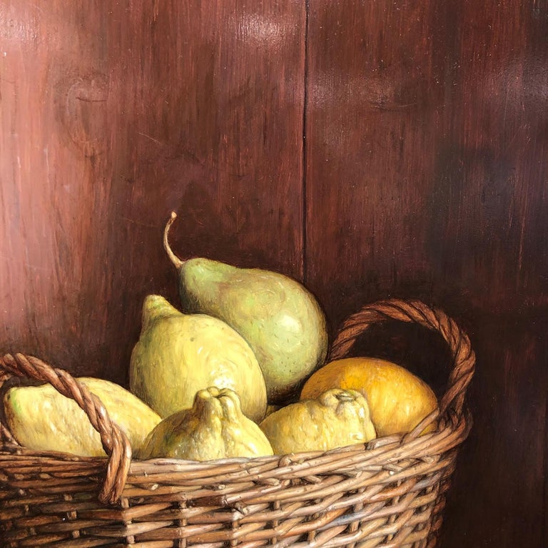 Realist Contemporary StillLife painting by Lijftogt 'Basket of Lemons & Pears'  For Sale 1