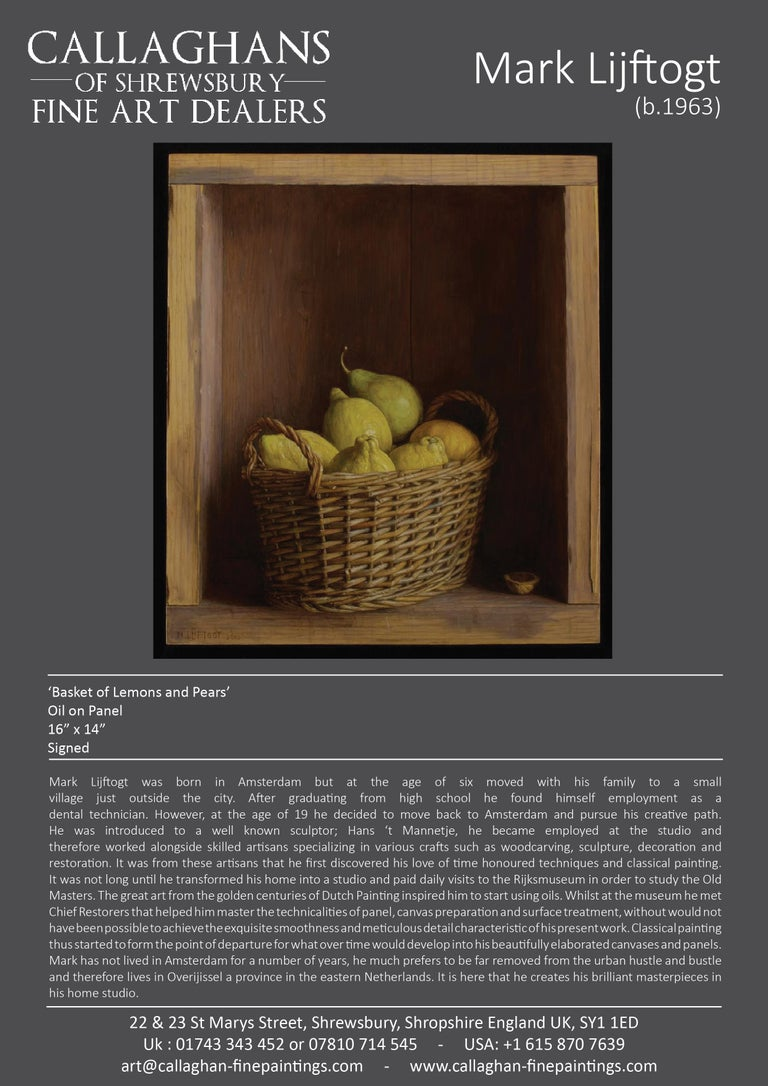Realist Contemporary StillLife painting by Lijftogt 'Basket of Lemons & Pears'  For Sale 2
