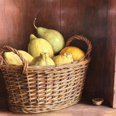 Realist Contemporary StillLife painting by Lijftogt 'Basket of Lemons & Pears'