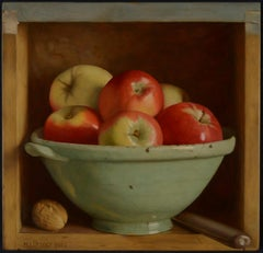 Still Life of Apples & Tuscan Bowl 'Cabinet with Olive Bowl' by Mark Lijftogt