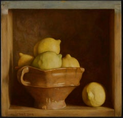 Still Life of Yellow Lemons and Bowl  'Cabinet with Lemons'  by Mark Lijftogt