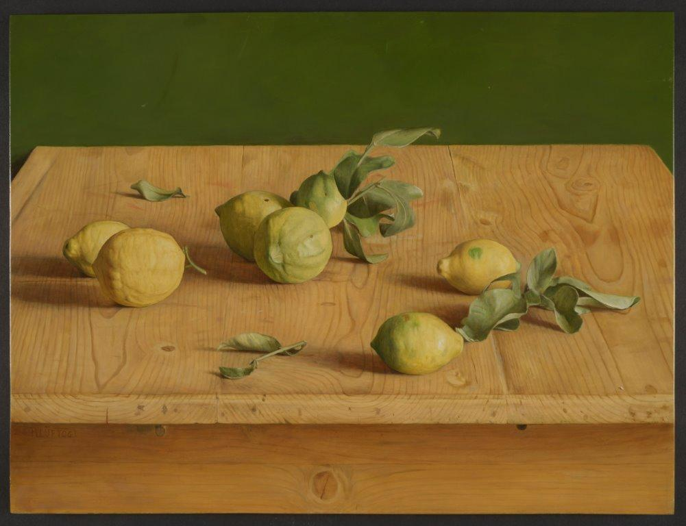 Still Life Painting 'Spanish Lemons' by Mark Lijftogt Hypperealist. Yellow