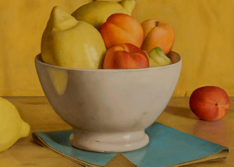 Vibrant & Vivid Still life painting 'Yellow Napkin' with lemons, peaches & Bowl - Painting by Mark Lijftogt
