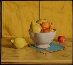 Vibrant & Vivid Still life painting 'Yellow Napkin' with lemons, peaches & Bowl