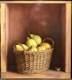 Contemporary Still Life in a cabinet 'Basket of Lemons' by Mark Lijftogt