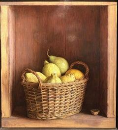 Contemporary Still Life in a cabinet 'Basket of Lemons' by Mark Lijftogt