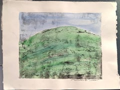 """1960s """"Green Hill"""" Hand Colored Etching Landscape Mark Luca"""