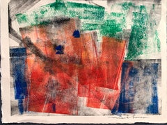 """1960s """"Red Abstract"""" Hand Colored Etching Landscape Mark Luca"""